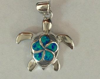 Sterling silver blue opal turtle plumeria flower pendant