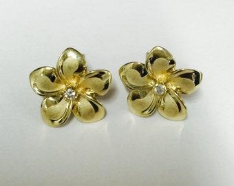 14K Yellow Gold Hawaiian Plumeria Flower Stud Earrings 11mm