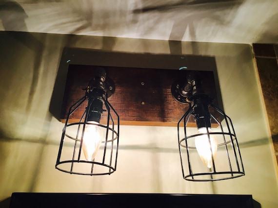 Rustic Industrial Vanity Lights : Industrial/Rustic Modern Handmade Vanity Light Fixture Pipe/Wood Bathroom/Restroom/Gift