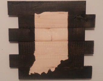 Wooden Indiana Sign