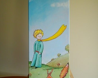 Little prince - Original acrylic painting on canvas - Prince and Fox - Le Petit Prince