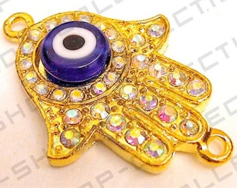 Gold Plated Hamsa, Hand, Pave Beads Connector 3pcs