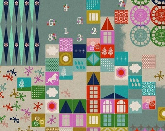 Playroom Canvas in Aqua, Playful - 1/2 Yard - Melody Miller for Cotton and Steel