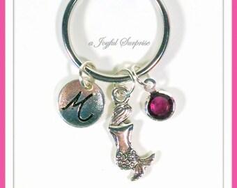 Mermaid KeyChain, Teenage Girl Key Chain, Sea Keyring, Tiny Silver Mermaid Lover's Gift for initial birthstone custom Personalized Teen her