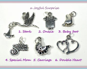 New Mom Charm, Silver Baby Charm You choose Stork Charm, Baby Clothes Charm, Baby Foot, Special Mom Charm, Baby Carriage Charm, Double Heart