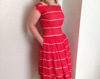 1950's Red Swiss Dot Sundress- 1950's dress- 1950's sundress - 1950's red dress- Sound the Siren!