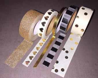 Gold, Black & White Washi Tape Set - Price reduced!
