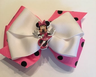 Minnie Mouse Bow Pink Minnie Mouse Bow Pink and Black Polka Dot Minnie Bow Pink and White Minnie Bow