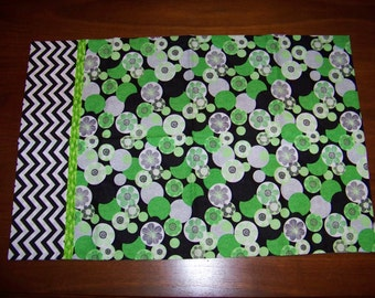 Handmade Black, White and Lime  Pillowcase - Stylized Flowers
