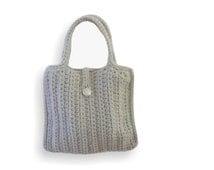 Crochet bag grey bag dress time - hand made - grey bag