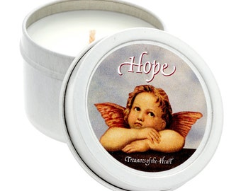 2 Oz. HOPE Angel Tropical Citrus Scented Soy Candle in Silver Tin