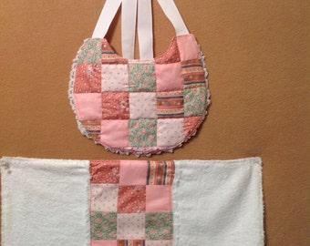 Pink Patchwork Bib and Burp Cloth Set