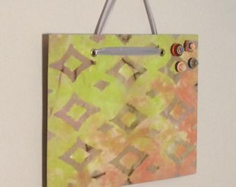 fabric covered magnet board 12X10 batik print