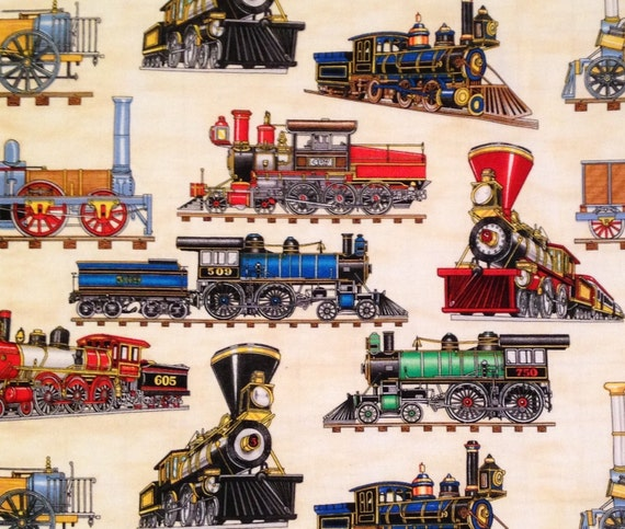 Train locomotive fabric by timeless by itsybitsybitsandbobs for Fabric with trains pattern