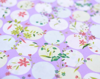1yd x 60'' Lilac Floral Print Fabric / 100% Cotton / by the yard