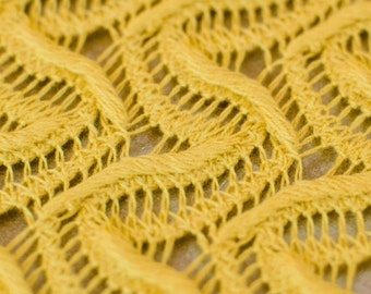 1yd x 48'' Yellow Crochet Knit Fabric / Cotton/Poly Blend / by the yard