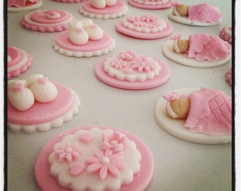 24 x Baby Shower Cupcake Toppers - Fondant Handmade Edible Boy Girl Neutral Baby Shower