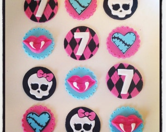 12 x Monster High fondant Edible Cupcake Toppers - Fondant Edible Handmade Ghoul Monster High Girls