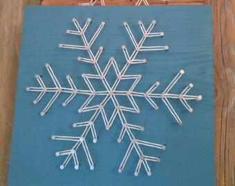 Snowflake String Art, Winter String Art, Winter Art, Seasonal Art, String Art, Snowflakes, Winter Decor, Home Decor, Seaonal, Customer Art