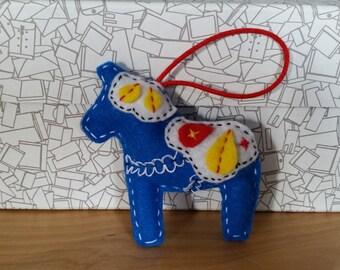 Swedish Hand-Sewn Felt Dala Horse Ornament