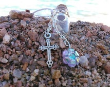Glass Wish Bottle with Cross Charm Necklace/rear view mirror decoration.