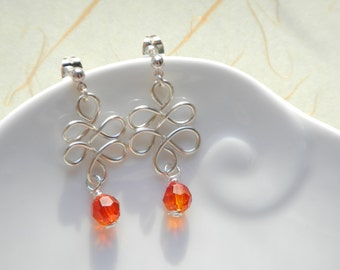 Handmade Copper Wire Wrapped Earrings with Swarovski Crystal Beads