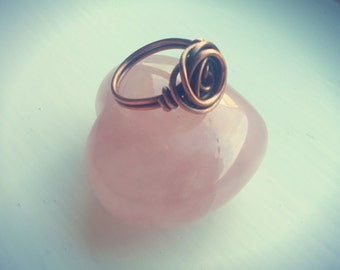 Beautiful Full Bloom Ring in raw antiqued Copper