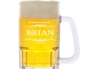 Wedding party beer mugs, personalized custom beer mug, best man gift, groomsmen glasses, groomsman gift,