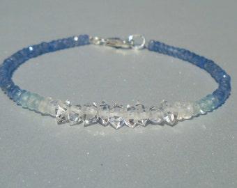 Sapphire Bracelet, Blue Sapphire, Herkimer Diamond Bracelet, Herkimer Diamond, Aquamarine Bracelet, Dainty Bracelet, Ombre, Beaded Bracelet
