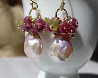Pink Pearl Earrings, Freshwater Pearl Earrings, Mystic Ruby Earrings, Red Ruby Earrings, Cluster Earrings, Gemstone Earrings, Pink Earrings
