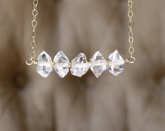 Herkimer Necklace, Herkimer Diamond Necklace, Herkimer Gold Necklace, Herkimer Bar Necklace, White Quartz Necklace, Dainty Necklace