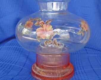 1980s Candle Burning Hurricane Lamp, Vintage Decor
