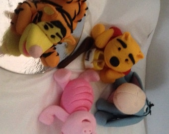 Gluten and Nut Free 10 cm edible fondant Winnieh the Pooh Bear Eeyore Piglet or Tigger Cake topper