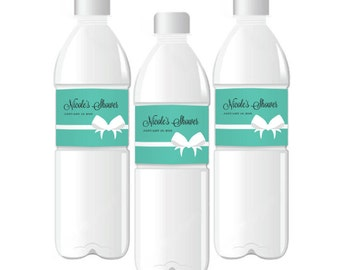 24 Bride & Co Personalized Weatherproof Water Bottle Labels - Bridal Shower - Engagement Party - 24 pieces