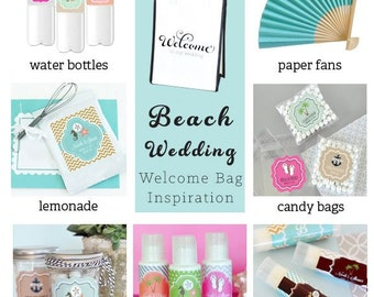 Wedding Welcome Bags, Destination Wedding - Beach Wedding - 12 pieces