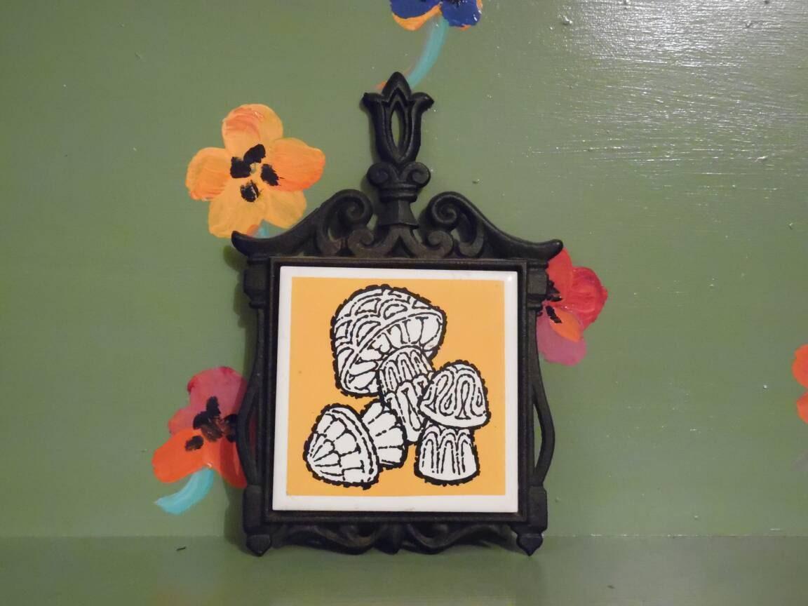 Kitchen Wall Decor Orange : Mushroom iron trivet kitchen wall decor orange groovy retro