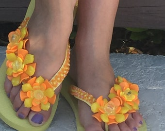 Yellow Havaianas Flip Flop with Flowers