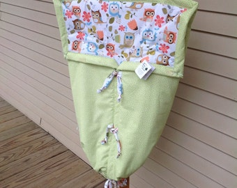 Owls Baby bunting, opens to a quilt. Made in Vermont