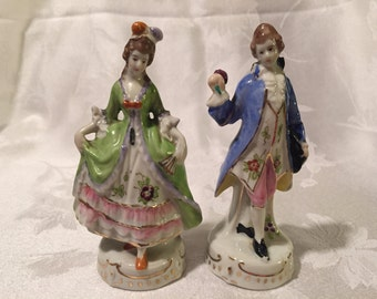 Reduced Price Victorian figurines, made in Japan, porcelain, woman and man
