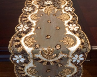 Elegant Beaded Table Runner, HAND BEADED Ivory And Gold Embroidered And Sequined  With Raised Flowers Table