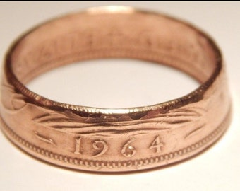 Coin Ring - Half Penny Vintage - Thin Style