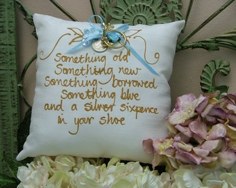 Hand painted pillow - Something Old, Something New, Something Borrowed, Something New