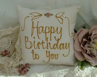 Hand painted pillow - Happy Birthday to you