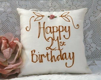Hand painted pillow - Happy 21st Birthday
