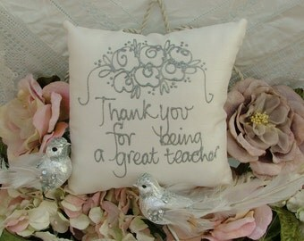 Hand painted pillow - Thank you for being a great teacher