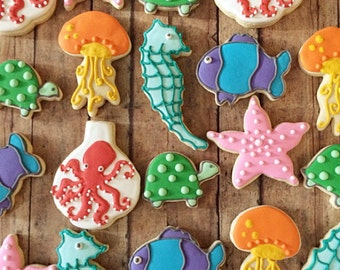 Under the Sea cookies/birthday parties/ocean themed birthday party/ocean animals/ fish cookies/ finding nemo/ dory/birthday parties/ 1 dozen