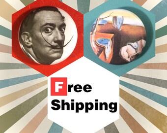 Salvador Dali, 2 Button Pin Set: FREE SHIPPING