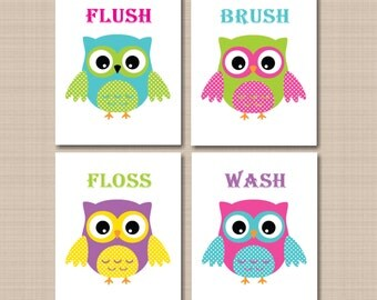 Owl Bathroom Wall Art,Owls Nursery Decor,Owl Wall Art,Owl Kids Bathroom Wall Art,Owl Bathroom Decor,Owl Theme Bathroom-UNFRAMED Set 4 B124