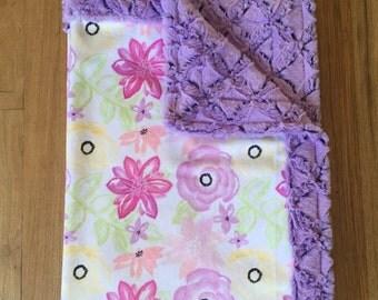 Minky Floral Baby Blanket