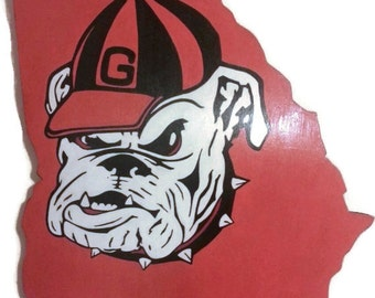 Georgia Bulldogs State Wall Art Sign; NFL, NBA, NHL, mlb also can be done!